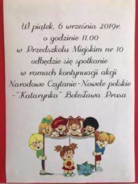 Narodowe Czytanie w Przedszkolu Miejskim nr 10